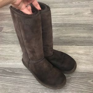 Ugg Tall Dark Brown Suede Boots, Size 7/38